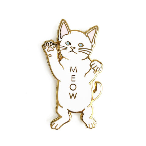White Cat Meow Enamel Pin