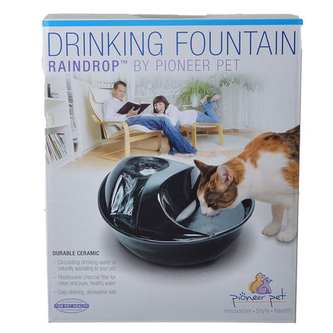 Pioneer Raindrop Ceramic Drinking Fountain - Black