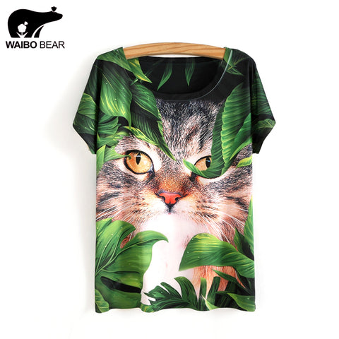 Woman's colorful cat t-shirt