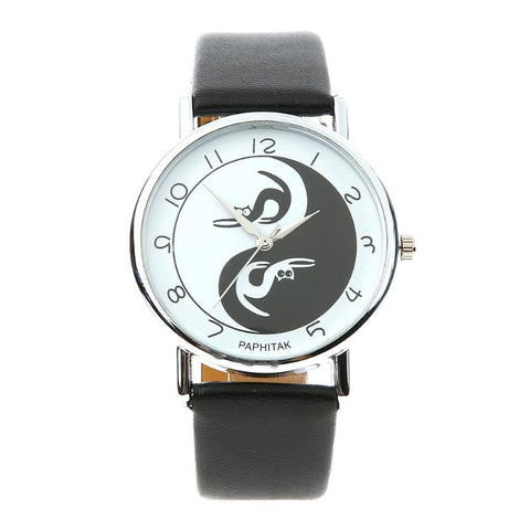 Woman's Cat Ying Yang Wrist Watch