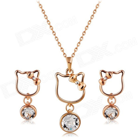Unique designed cat necklace and earrings.