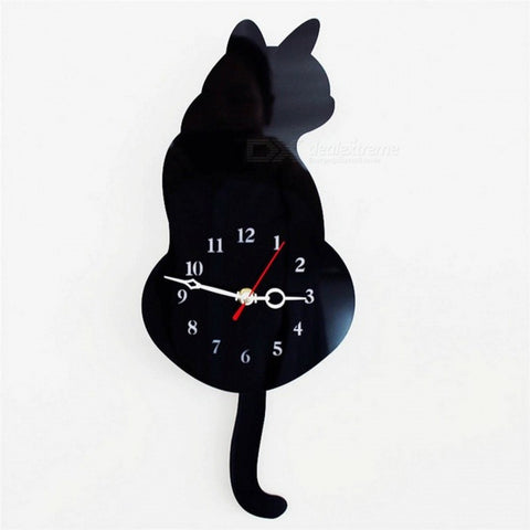 Cute Wagging Tail Cat Wall Clock