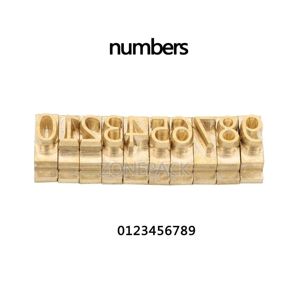 Microsoft Elegant Black ZONEPACK Copper Brass Stamping Flexible Letters Numbers Alphabets Symbols Characters Molds CNC Engraving Molds for Hot Foil Stamping Machine