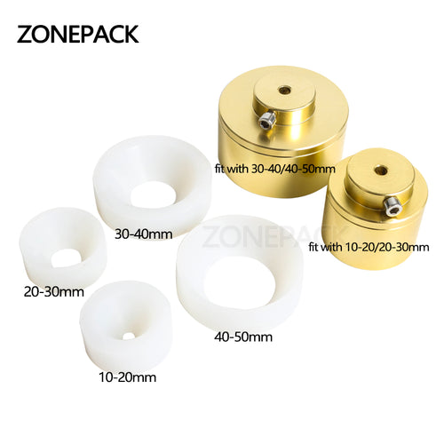 ZONEPACK Capping Machine Chuck Cap for Capper 28-32mm 38mm 10- 50mm Round Plastic Bottle With Security Ring Silicone Capping
