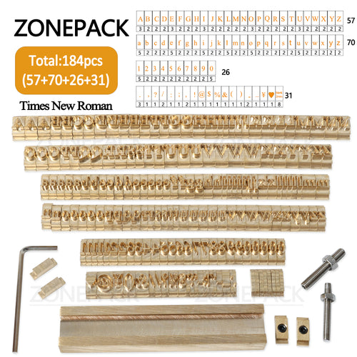 ZONEPACK 184 PCS Alphabet Letter Set With Number Symbols 10cm T slot Letter Stamp For Hot Foil Stamping Machine Custom Logo Name