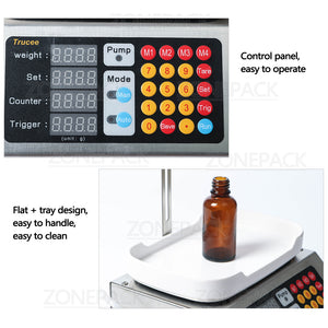 ZONEPACK 0-50ml Small Automatic CNC Liquid Filling Machine 220V Perfume Weighing Filling Machine Oral Liquid Solution Filler