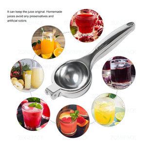 ZONEPACK Metal Lemon Lime Squeezer Stainless Steel Mini Manual Citrus Press Juicer Citrus Fruits Orange Pomegranate Pressing Machine Kithchen Tool Christmas Gifts