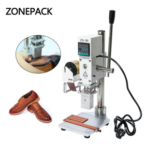 ZONEPACK Hot Foil Stamping Machine Embossing Logo Trademark Manual Bronzing Machine For Finshed Leather Shoes Heat Cold Pressing