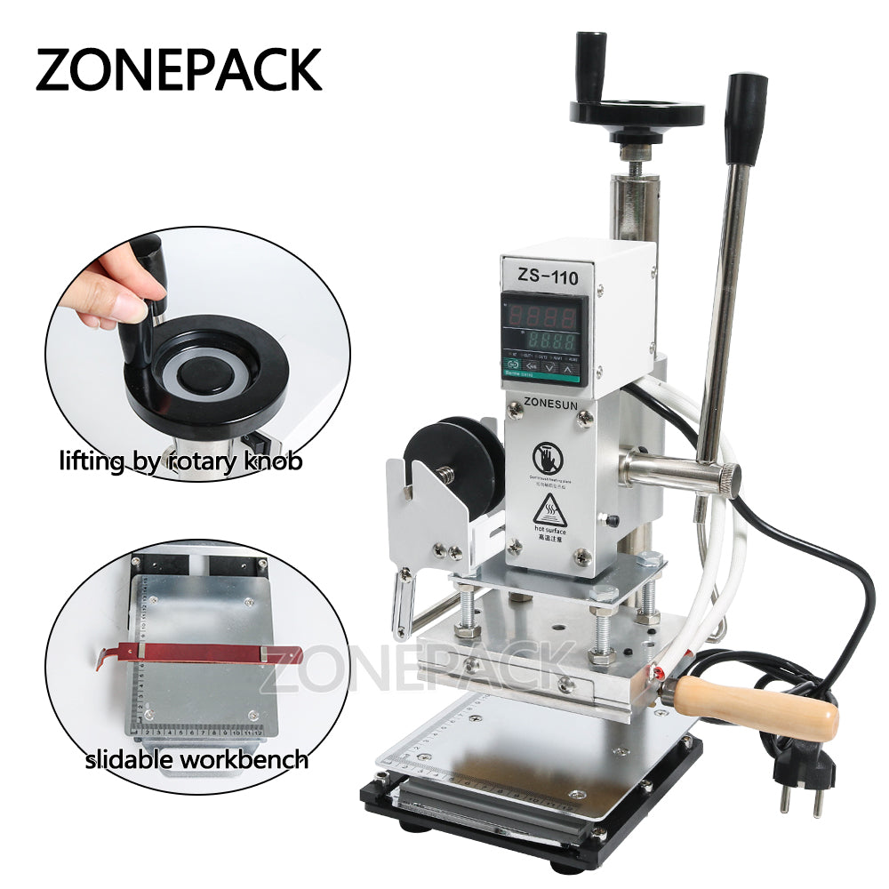 ZONEPACK ZS110 Slideable Workbench Digital Hot Foil Stamping Machine Leather Embossing Bronzing Tool for Wood Leather PVC Paper DIY