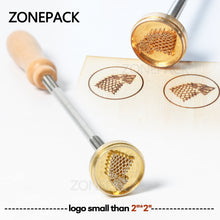 ZONEPACK Custom Logo With 8mm Diameter Wooden Handle Branding Iron Wood Burning Stamp Heating for Leather Wood Paper