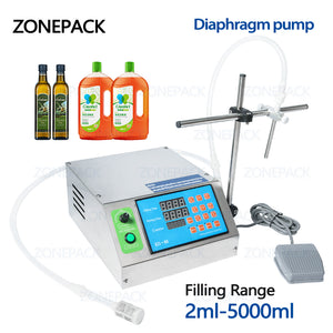 ZONEPACK Diaphragm Pump Digital Control Bottle Water Filler Semi-automatic Liquid Vial Desk-top Filling Machine for Juice Beverage Oil Perfume Alcohol filling machine