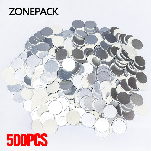 ZONEPACK Induction Sealing Customized Size Plastic laminated Aluminum Foil Lid Liners 500pcs/packed for PP PET PVC PS ABS glass bottles