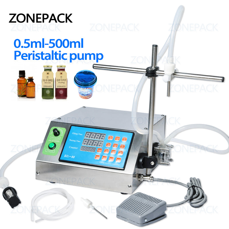 ZONEPACK Peristaltic Pump Bottle Water Filler Liquid Vial Desk-top Filling Machine for Juice Beverage Milk Drink Oil Perfume Alcohol disinfectant filling machine