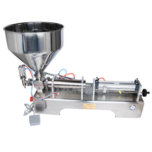 ZONEPACK 100-1000ml Cream Filling Machine Liquid Filler 30L Pedal Pneumatic Paste Filling Machine for Paste High-viscosity Single Head Horizontal Semi-auto Filling Machine with Funnel