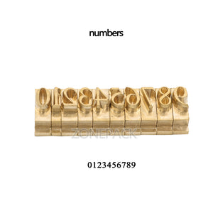 ZONEPACK DIY Custom Logo Copper Brass Stamping Flexible Letters Numbers Alphabets Symbols Characters Molds CNC Engraving Molds For Hot Foil Stamping Machine