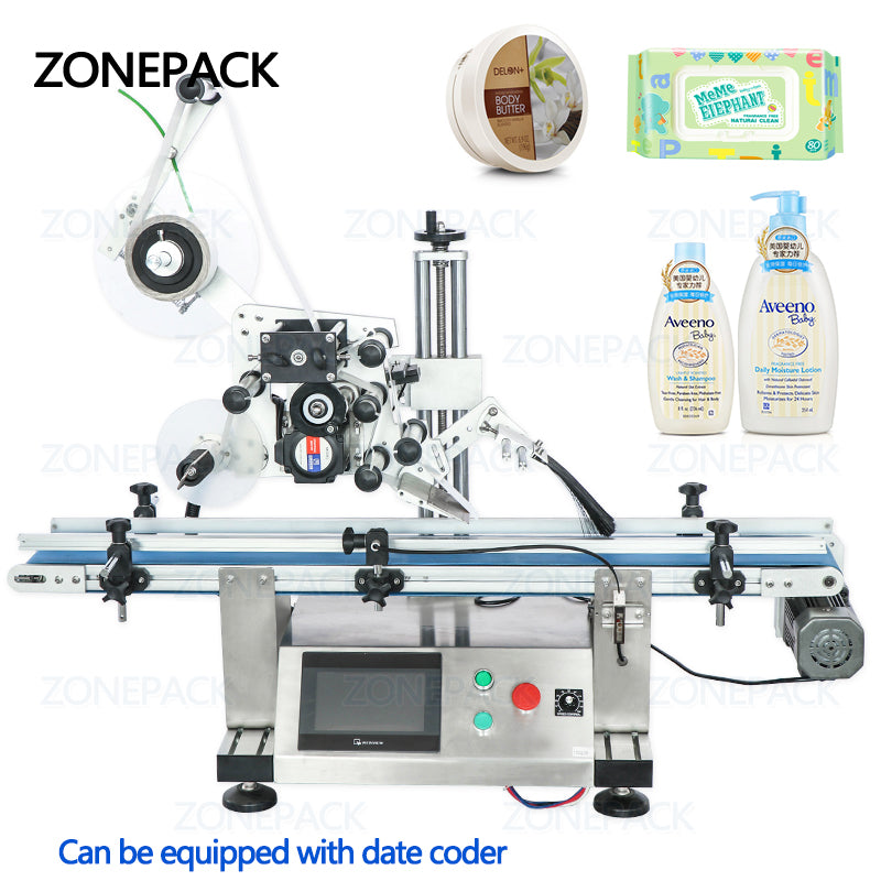ZONEPACK Automatic Bottle Flat Surface Labeling Machine Adhesive Sticker Labeller Can Laundry Detergent Bottle Label Dispenser