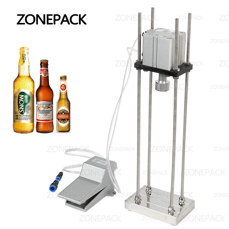 ZONEPACK Pneumatic Beer Capping Machine Semi-automatic Cap Sealing Machine Manual Bottle Capper Commercial Bar Brewery