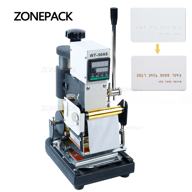 ZONEPACK Hot Stamping Machine For PVC Card Member Club Hot Foil Stamping Bronzing Machine WT-90AS Credit Card Heat Press Machine