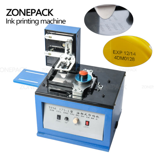 ZONEPACK Automatic Pad Printer Electric InkJet Date Pad Printing Machine For Bottle Caps Print LOGO Metal Glass Coding Machine