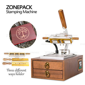 ZONEPACK Manual Light-type Digital Hot Foil Stamping Machine Leather Paper Wood PVC Card Book Custom Logo Heat Press Machine