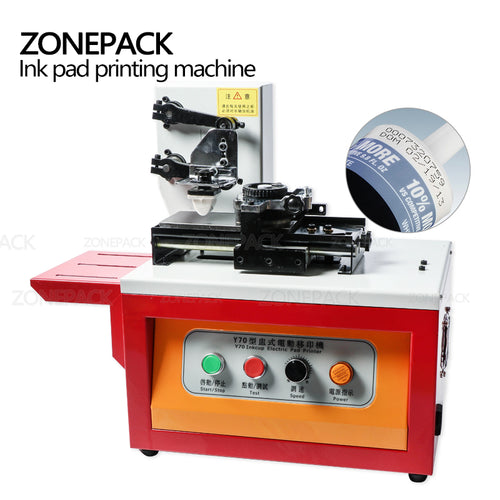 ZONEPACK Automatic Ink Pad Printing Machine Electric Production Date Coding Machine Plastic Milk Carton Bottle Glass Pad Priter