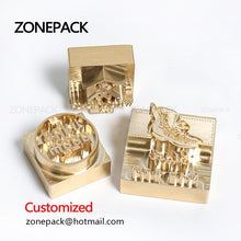 ZONEPACK Customized Logo Stamp Brass Mold Leather Wood PU Copper Stamping Mold Plate For Machine Hot Foil Stamp Wood Burning