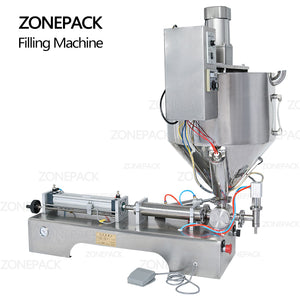 ZONEPACK Single Nozzle Cream Honey Chocolate Sauce Alcohol Gel Water Bottle Packaging Filling Machine with Heater Filler