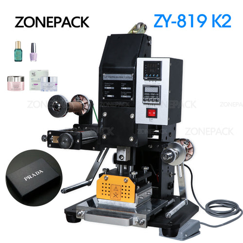 ZONEPACK ZY-819k2 116*120mm Professional Pneumatic Automatic Leather LOGO Hot Foil Stamping Embossing Machine Heat Press Machine