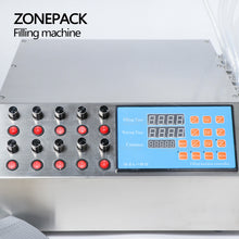 ZONEPACK 10 Heads Perfume Vial Oral Liquid Filling Machine Electric Digital Control Pump Filler 50ml Small Bottle Filling Machine
