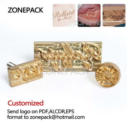 ZONEPACK Metal Brass Mould Wood Leather Stamp Custom Logo Design Branding Plates Plastic Cake Bread Mold Heating Embossing Tool