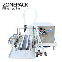 ZONEPACK 4 Nozzles Magnetic Pump Automatic Alcohol Hydrogen Peroxide Liquid ethanol Filler Hand Sanitizer Perfume Filling Machine