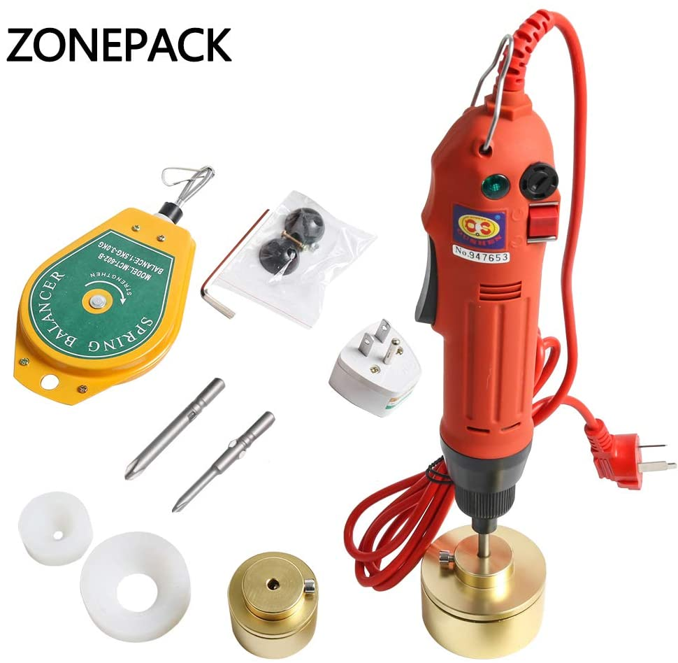ZONEPACK 80W Portable Automatic Electric Bottle Capping Machine Cap Screwing Machine Electric Cap Sealing (10-50mm)