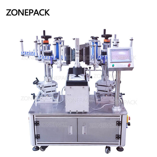 ZONEPACK XL-T806 Semi Automatic Double-side Soap Laundry Liquid Paste PET Flat Bottle Labeling Machine