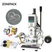 ZONEPACK Digital Automatic Leather Hot Foil Stamping Machine Manual Embossing Tool 300W Creasing Wood Paper PVC Card Printer DIY