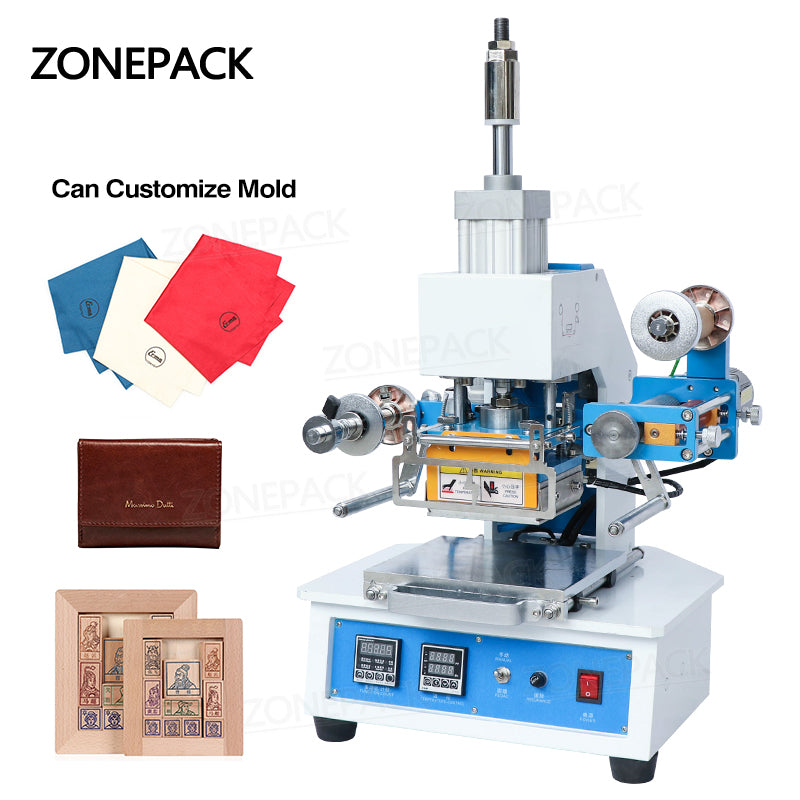 ZONEPACK ZY-819E Pneumatic Automatic Stamping Machine Leather LOGO Creasing Machine Stamper High Speed Card Embossing Machine