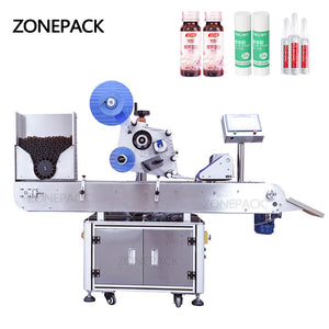 ZONEPACK XL-T823 Automatic Round Medicine Bottle Pen Vial Smoke Oil Cigarette Bottle Adhesive Sticker Packing Labeling Machine