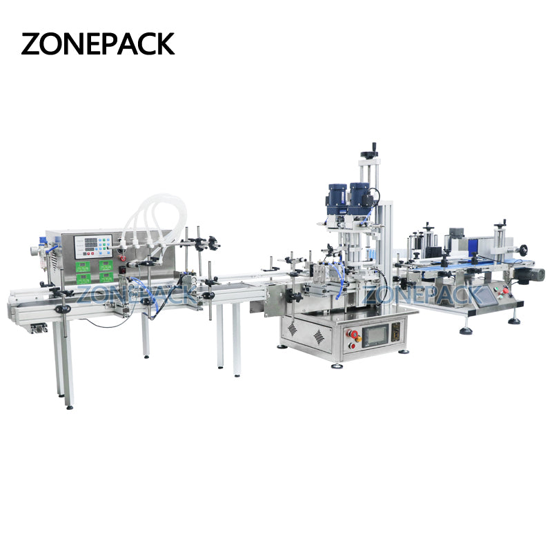 ZONEPACK Automatic Liquid Filling Capping Labeling Machine Production Line Liquid Soap Oil Beverage Bottle Water Making Machines