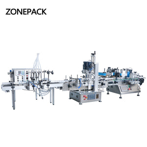 ZONEPACK Automatic Production Line Bottle Plastic Box Carton Liquid Beverage Oil Filling Capping Labeling Machine