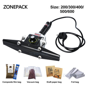ZONEPACK FKR-200 Hand Impulse Sealer With Cutter Handheld Heat Impulse Sealer Manual Sealing Machine
