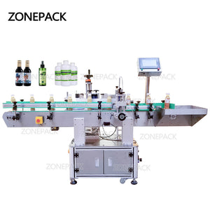 ZONEPACK XL-T822 Automatic Round Surface Labeling Machine Label Applicator Food Paint Can Bottle Vertical Rolling Sticker Labeler