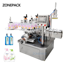 ZONEPACK ZS-TB210 Semi Automatic Double Size Tube Sticker Water Flat Bottle Labeling Machine For Bottles Label Dispenser Machine