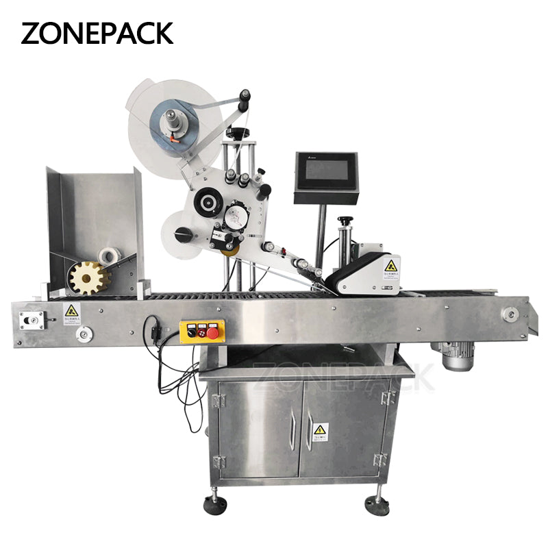 ZONEPACK Automatic Flat Square Bottle Bag Pen Pencil Cigar Horizontal Adhesive Tape Sticker Packing Labeling Machine