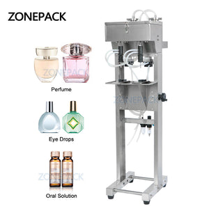 ZONEPACK 2 Heads Vacuum Liquid Perfume Filling Machine Milk Water Eyewash Cosmetics Beverage Pneumatic Filler Bottle Equipment