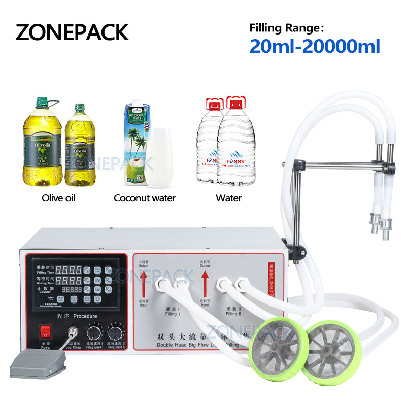 ZONEPACK Semi Automatic Double Nozzle Filling Machine Laundry Cooking Oil Water Juice Milk Liquid Bottle Filling Machine