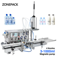 ZONEPACK 4 Nozzles Magnetic Pump Automatic Desktop Liquid Water Filler with Conveyor Alcohol Ethanol Perfume Filling Machine