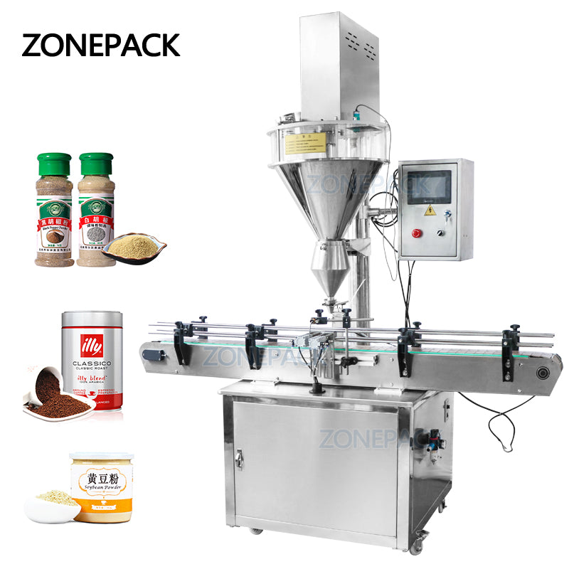 ZONEPACK Tin Aluminum Can Auger Cup Automatic Coffer Dry Milk Powder Small Bottle Filling Machines For Food