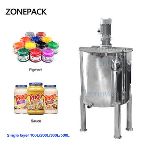 ZONEPACK 100L 200L 300L 500L Sanitary Stainless Steel Vertical Cosmetic Liquid Chemical Mixing Equipment Tank
