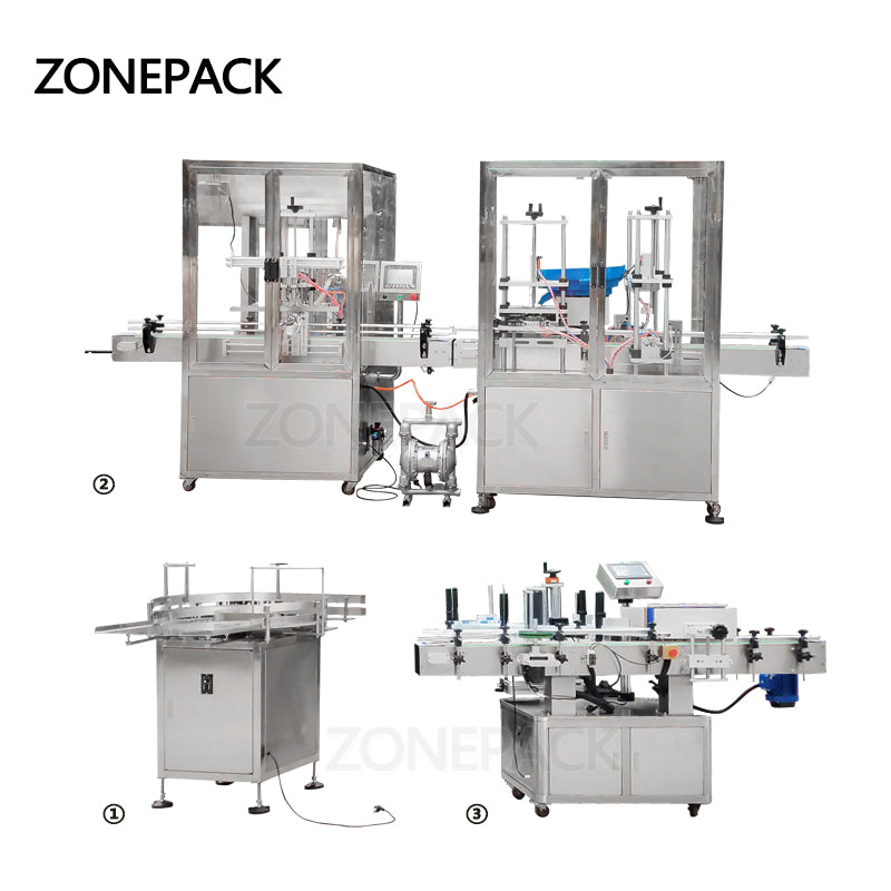 ZONEPACK Automatic Desktop Electric Glass Perfume Shampoo Cosmetic Nail Polish Bottle Capping Filling Labeling Packing Machine