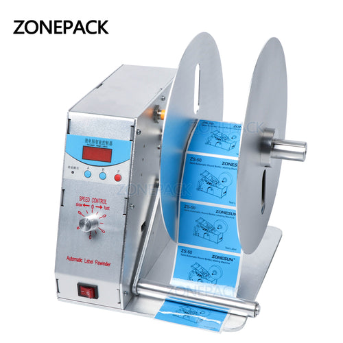 ZONEPACK NEW Digital Automatic Label Rewinder Clothing Tags Barcode Stickers Rewinding Machine Volume Label for Supermarket