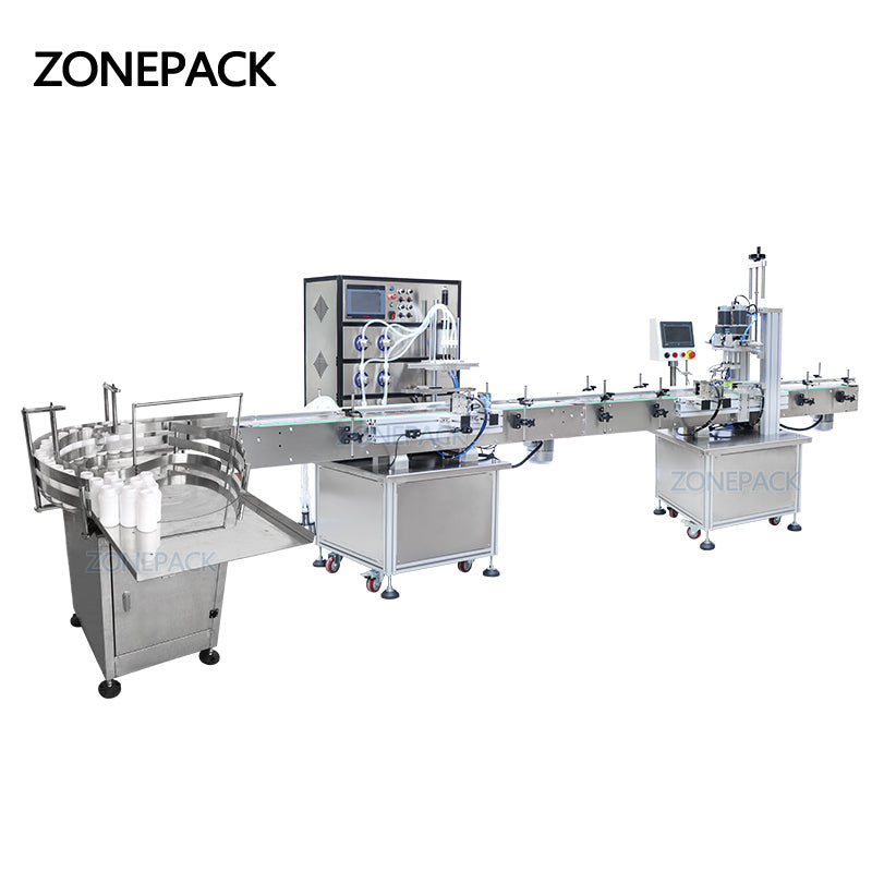 ZONEPACK Production Line for Juice Milk Small Automatic Bottle Alcohol Hydrogen Peroxide Liquid Turntable Capping Filling Machine